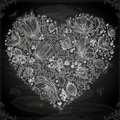 Stylish Floral Heart, Hand Drawn Retro Flowers
