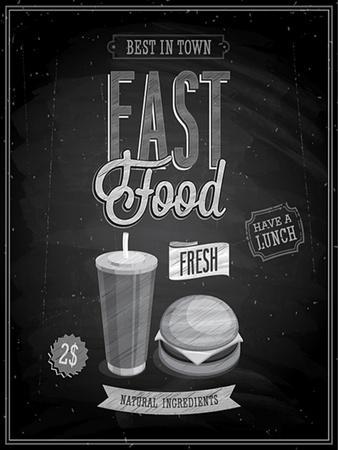 Vintage Fast Food Poster Chalkboard