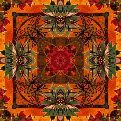 Art Nouveau Geometric Ornamental Vintage Pattern in Orange, Green and Red Colors