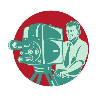 Cameraman Filming with Vintage Tv Camera