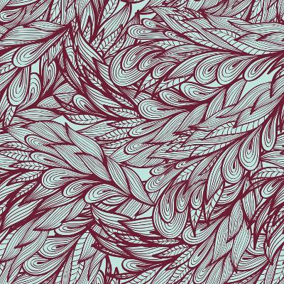 Floral Vintage Monochrome Doodle Pattern with Abstract Feathers