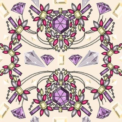Pastel Jewelery Necklace Kaleidoscope Pattern