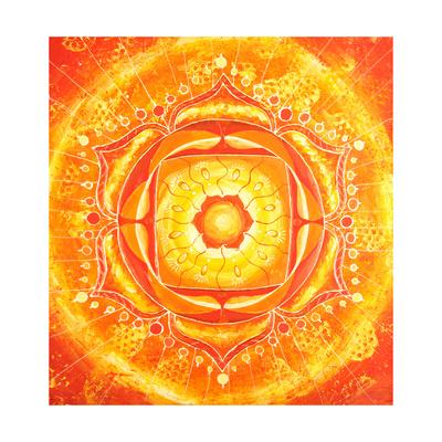 Abstract Orange Painted Picture with Circle Pattern, Mandala of Svadhisthana Chakra