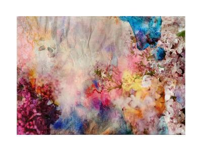 Floral Painting on Grunge Paper Texture