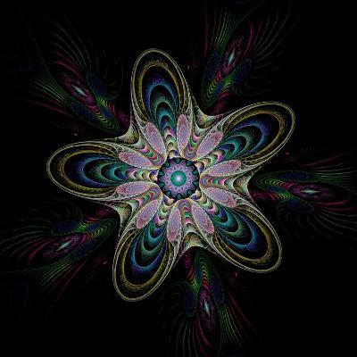Abstract Fractal Image of Puffed Colorful Star Flower