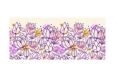 Purple Line Art Flowers Horizontal Pattern Border