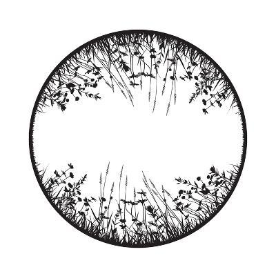 Floral Design Element with Wild Grass, Herbs and Flowers