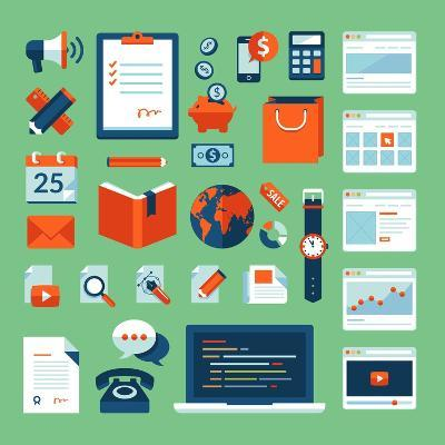 Flat Design Icons Set of Business Working Elements