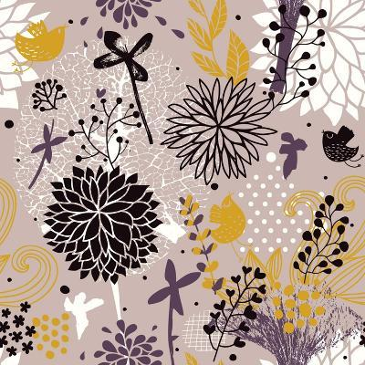 Abstract Floral Pattern in Vintage Colors