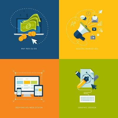 Flat Design Icons for Web and Mobile Services and Apps