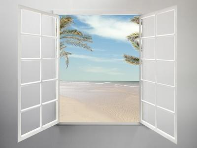 Modern Residential Window Open and Beach with Palm Trees Behind