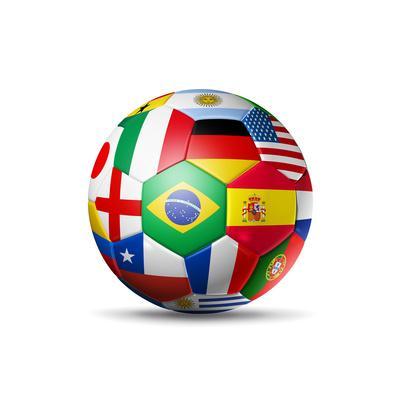 Brazil 2014,Football Soccer Ball with World Teams Flags