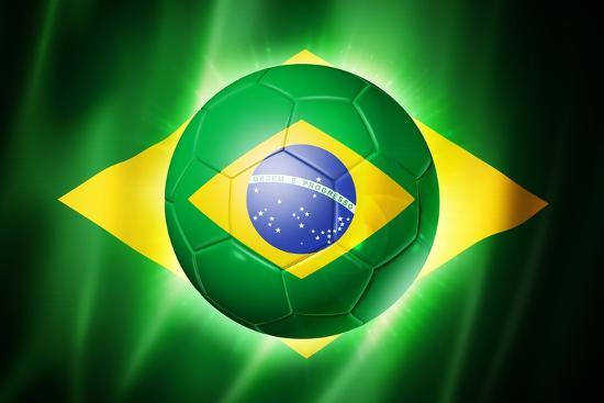 soccer football ball with brazil flag posters by daboost at