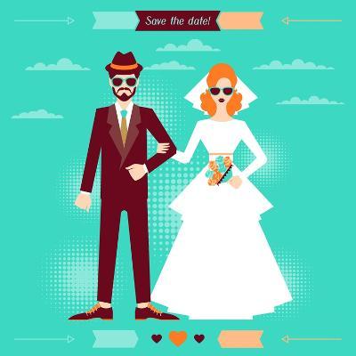 Wedding Invitation Card Template in Retro Style