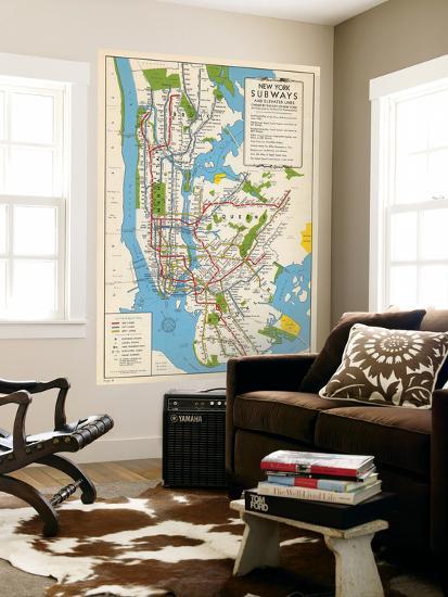 1949, New York Subway Map, New York, United States Wall Mural at ...