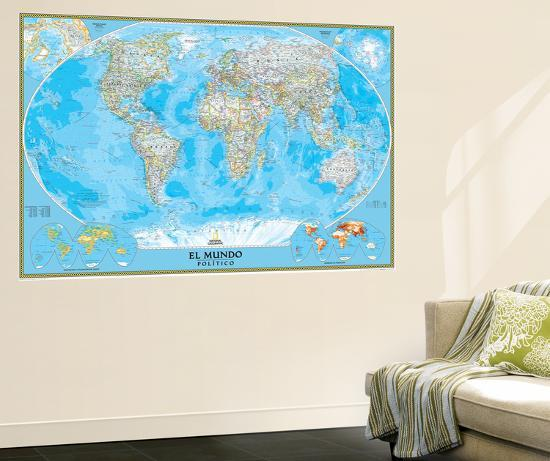 National Geographic World Map Murals.Spanish Classic World Map Wall Mural By National Geographic Maps At