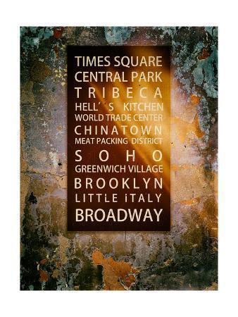 NYC Districts - Wall Sign - Urban Style - Manhattan, New York City, USA