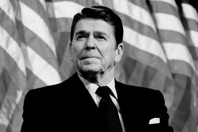 Ronald Reagan American Flag Black White