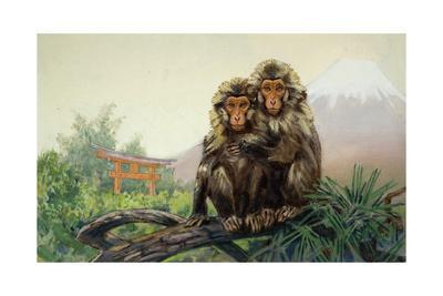 Painting of a Pair of Japanese Macaques with Mount Fuji in Distance