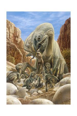 Oviraptor Dinosaur Feeding its Young, Just Like a Mother Bird