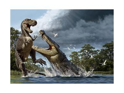 A Deinosuchus, an Alligator Ancestor, Lunges at an Albertosaurus