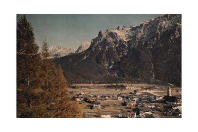 A View of Mittenwald at the Foot of the Karwendel Mountains