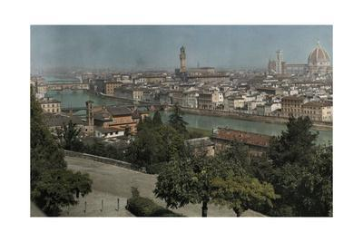 An Elevated View of the Arno River Through Florence