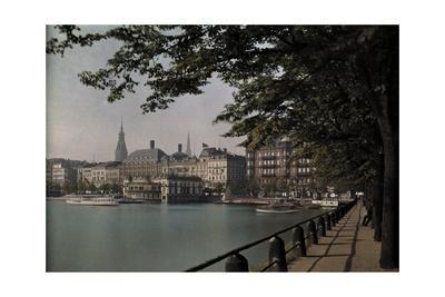 A View of Binnenalster Lake Surrounded by the Alster Pavillion