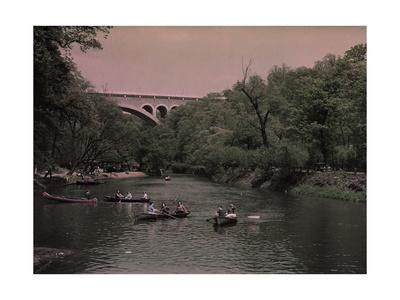 Canoes in Wissahickon Creek, and Walnut Lane Bridge in Distance