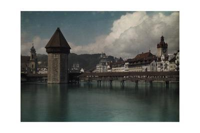 A View of the Kapellbrucke Bridge over the Reuss River in Lucerne