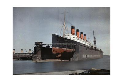 "The Cunard S.S. ""Mauretania"" at Dock for Her Semiannual Hull Cleaning"