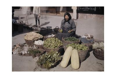 A Peasant Woman Sells Her Produce and Eggs at the Local Market