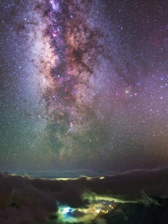 The Milky Way Towards the Bright Central Bulge in the Constellations Scorpius and Sagittarius