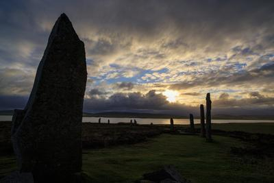 Sunset over the Ring of Brodgar, a 5000 Year-Old Neolithic Stone Ring, a World Heritage Site