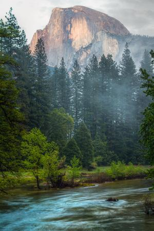 Half Dome and the Merced River at Sunset