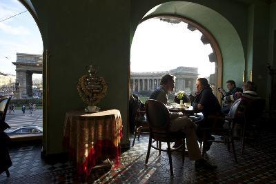 Couple Dinning at Cafe Singer, Famous Cafe Along Nevsky Prospekt
