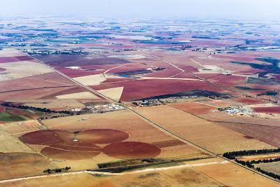 Dry and Arid Farmland Surrounding Agricultural Crop Circles