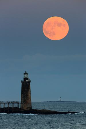 The Harvest Moon Rises Above the Ram Island Ledge Light, in Casco Bay