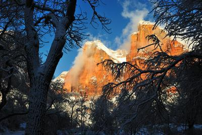 A Landscape of Rock Formations and Trees Covered in Snow at Sunrise