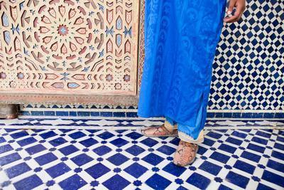 A Man from a Berber Village Walks Along the Ornate Tile Inside the Mausoleum Moulay Ali Sharif