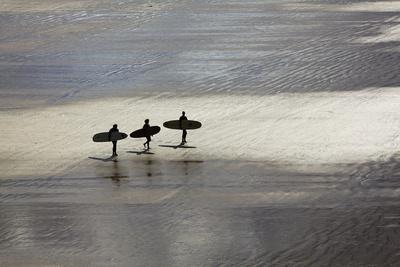 Surfers in Silhouette, Heading Towards the Surf