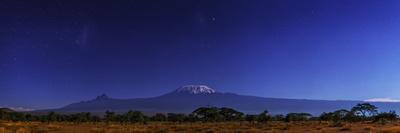 Mount Kilimanjaro in Moonlight. the Large and Small Magellanic Clouds Appear to the Left