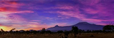 Colorful Clouds at Dawn over Mount Kilimanjaro. the Main Peak Is Kibo; the Smaller Peak Is Mawenzi
