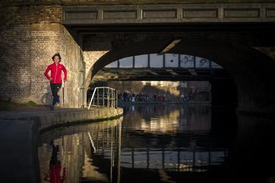 Lizzy Hawker - a World Champion Endurance Athlete - Training Beside Regents Canal in London