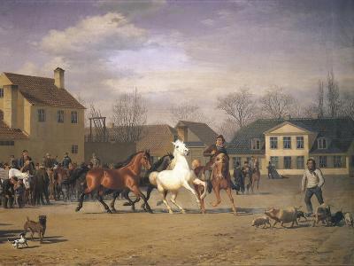 Cattle Market Along the Vesterbrogade in Copenhagen, 1858