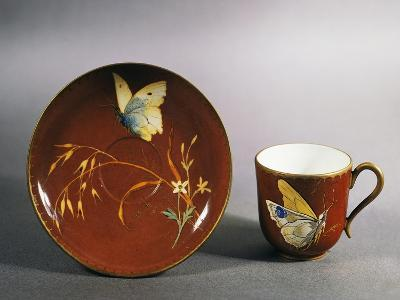 Art Nouveau Style Coffee Cup with Saucer Decorated with Butterfly on Red Ground, Circa 1885