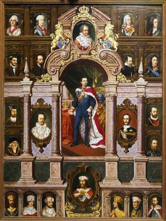 Panel with Portraits of the Bavarian Kings of the Wittelsbach Family, 1880