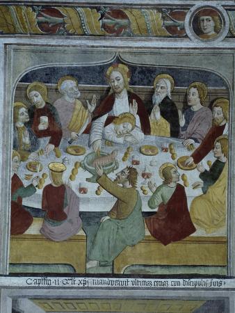France, La Brigue, Notre-Dame Des Fontaines Chapel, Last Supper, 1491