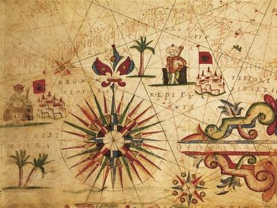Portolan Chart Depicting Tripolitania, Africa and Wind Rose, 1631