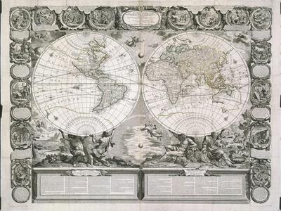 A Map of the Earth Divided into Two Hemispheres